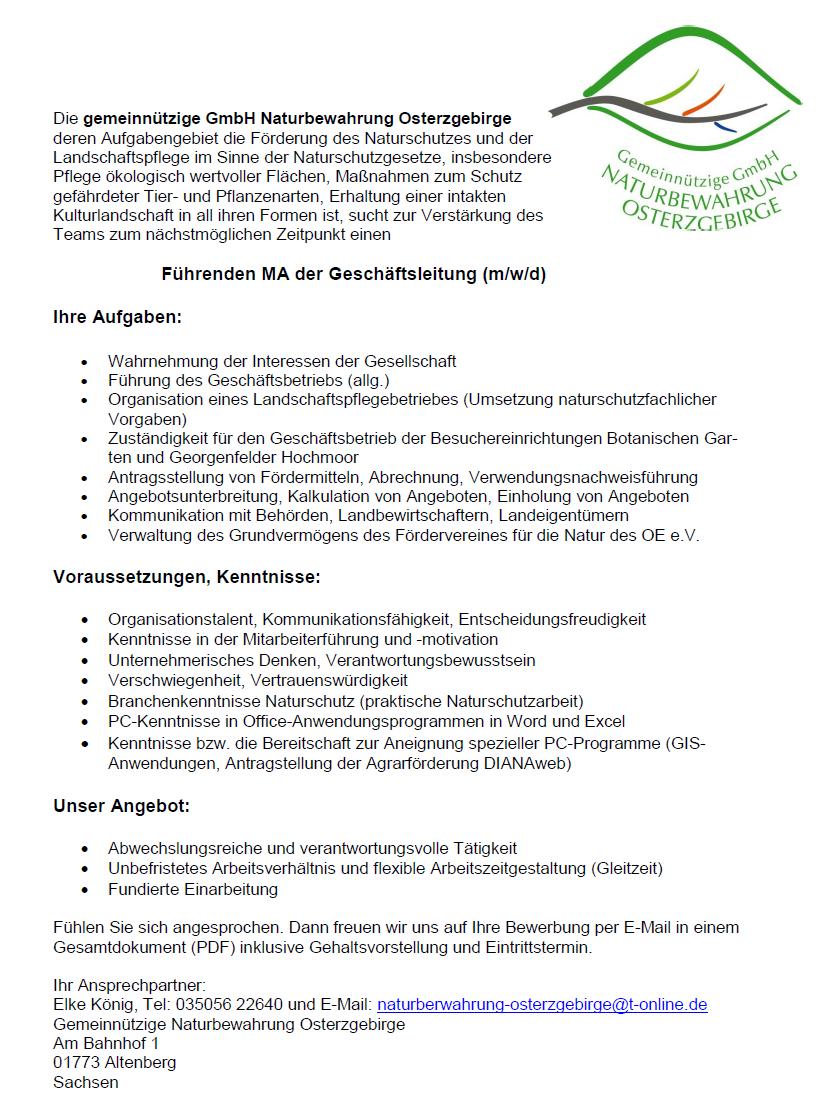 Führender MA der Geschäftsleitung m/w/d   Naturbewahrung ...